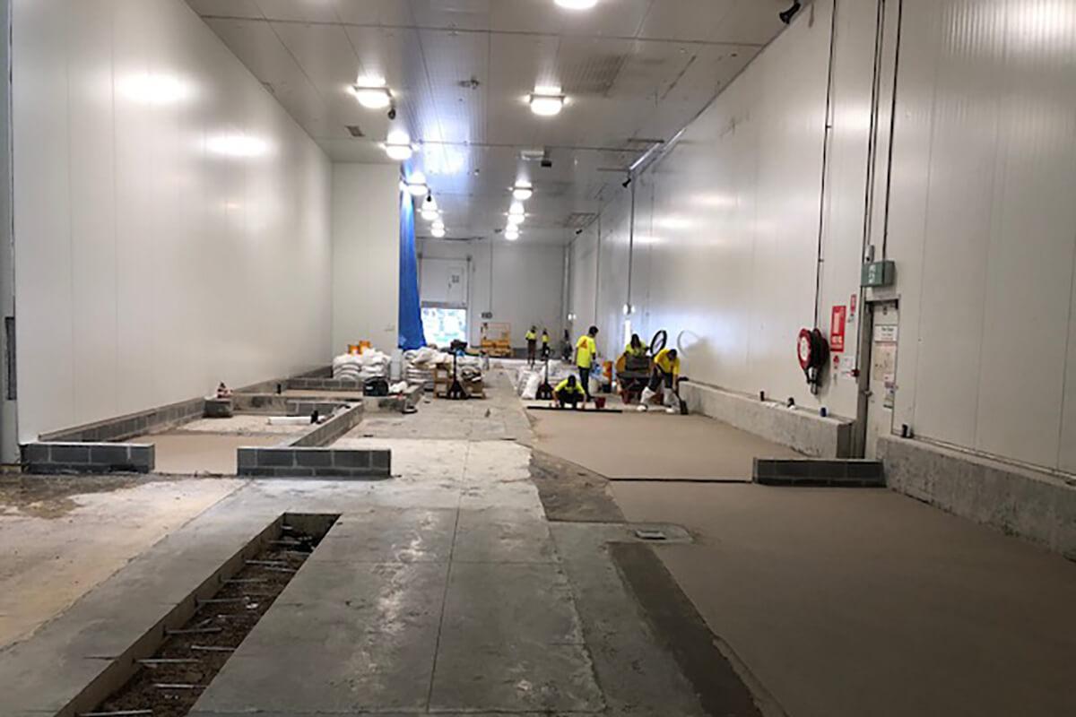Work on the preparation area floor at Beak & Johnstone - flooring options - Remedial Building Services