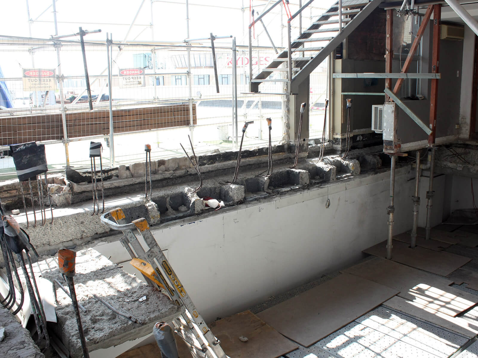 Areas Of The Roof Slab Where Concrete Was Repaired - Structural Repair - Remedial Building Services