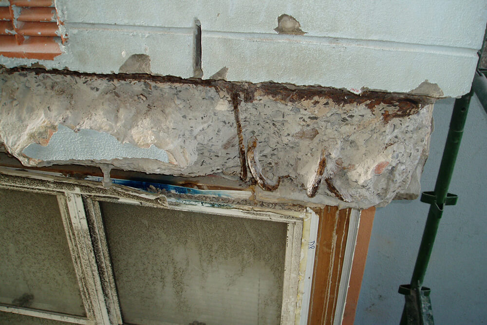 Rusted Reinforcement At The Window - Structural Building Repairs - Remedial Building Services