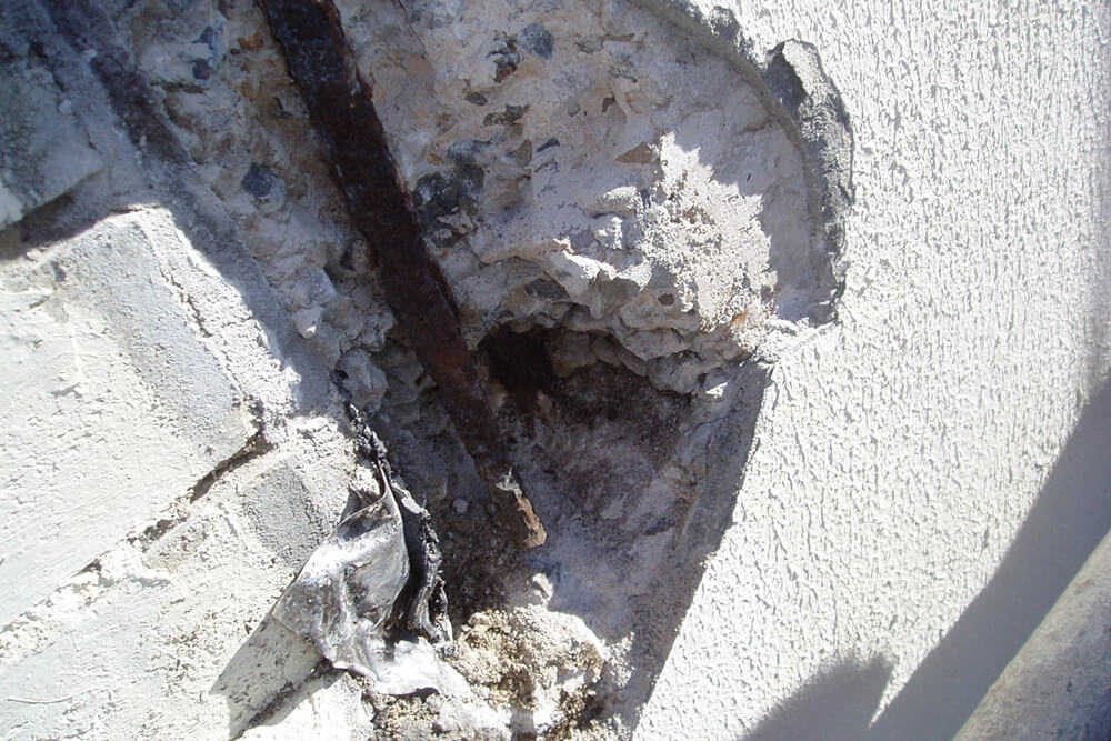 Exposed Rust Reinforcement Bar - Concrete Cancer - Remedial Building Services