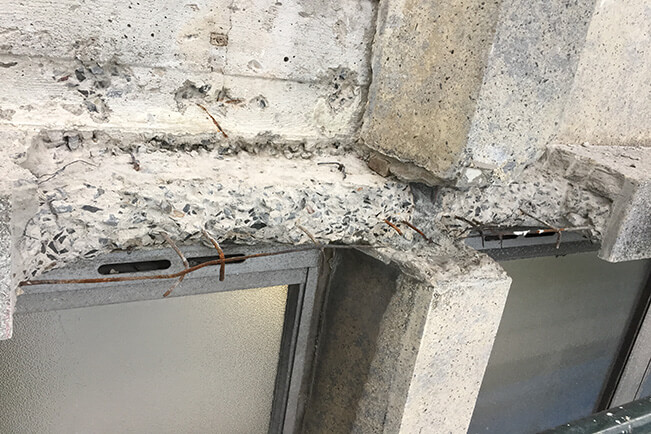 Exposed Rusted Reinforcement Bars - Concrete Cancer - Remedial Building Services