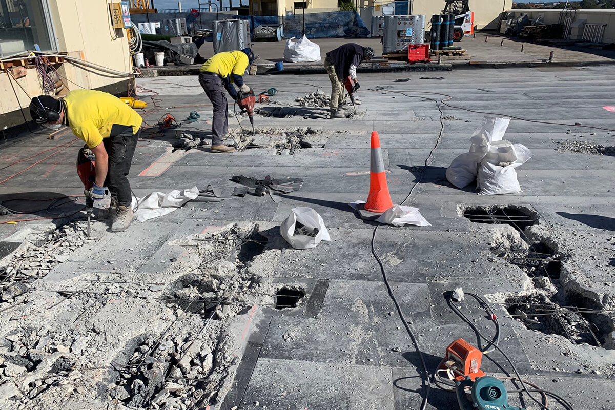 Remedial Team Break And Remove Old Concrete - Structural Repairs - Remedial Building Services